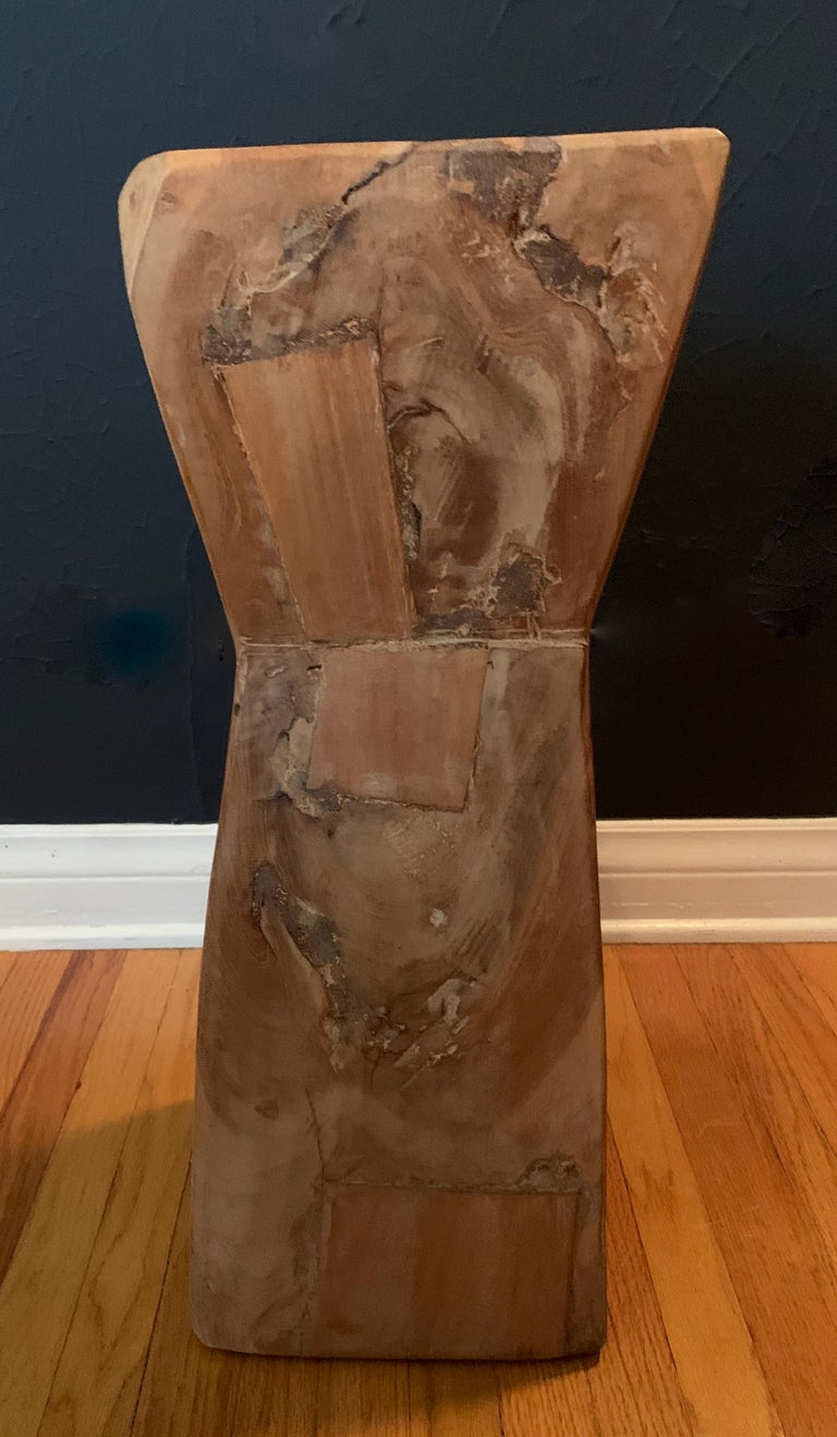 Pair of Hand Carved Organic Wooden Hour Glass Side Martini Tables For Sale 6