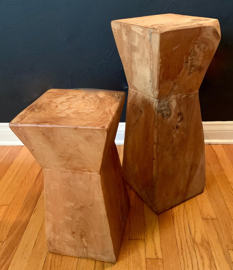 20th Century Pair of Hand Carved Organic Wooden Hour Glass Side Martini Tables For Sale