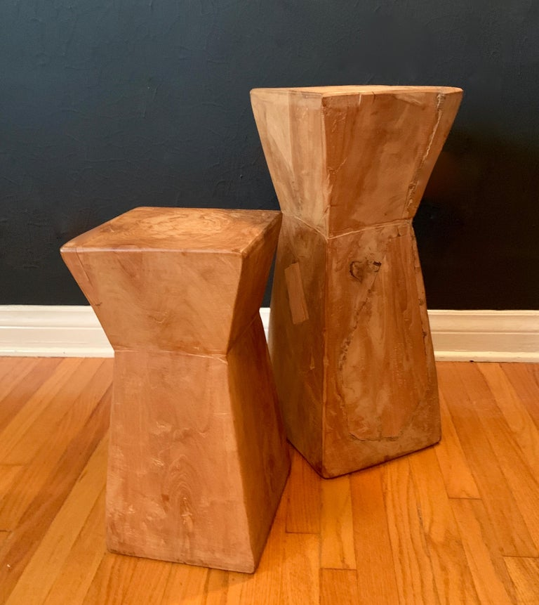 Pair of Hand Carved Organic Wooden Hour Glass Side Martini Tables For Sale 1