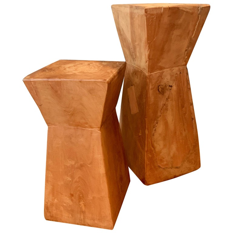 Pair of Hand Carved Organic Wooden Hour Glass Side Martini Tables For Sale