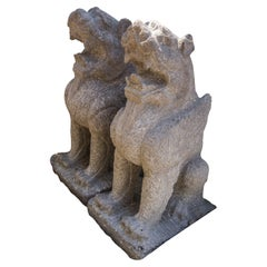 Pair of Hand Carved Stone Winged Beasts