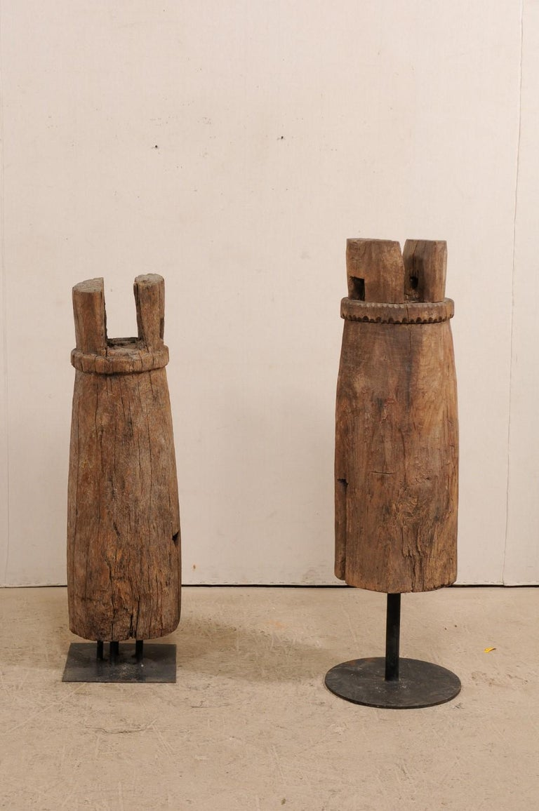 Rustic Pair of Hand-Carved Thai Wooden Temple Bells on Stands, Early 20th Century For Sale
