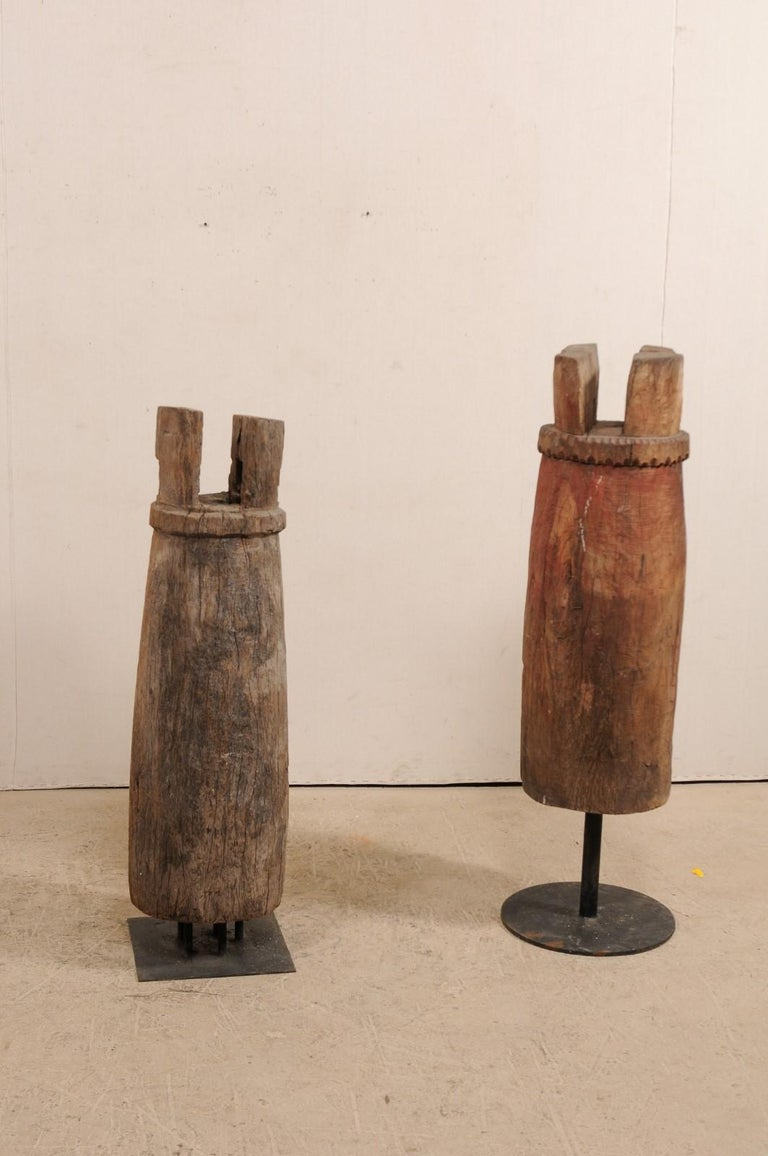 Pair of Hand-Carved Thai Wooden Temple Bells on Stands, Early 20th Century In Good Condition For Sale In Atlanta, GA