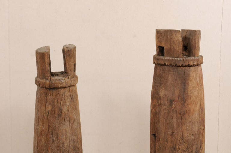Pair of Hand-Carved Thai Wooden Temple Bells on Stands, Early 20th Century For Sale 5