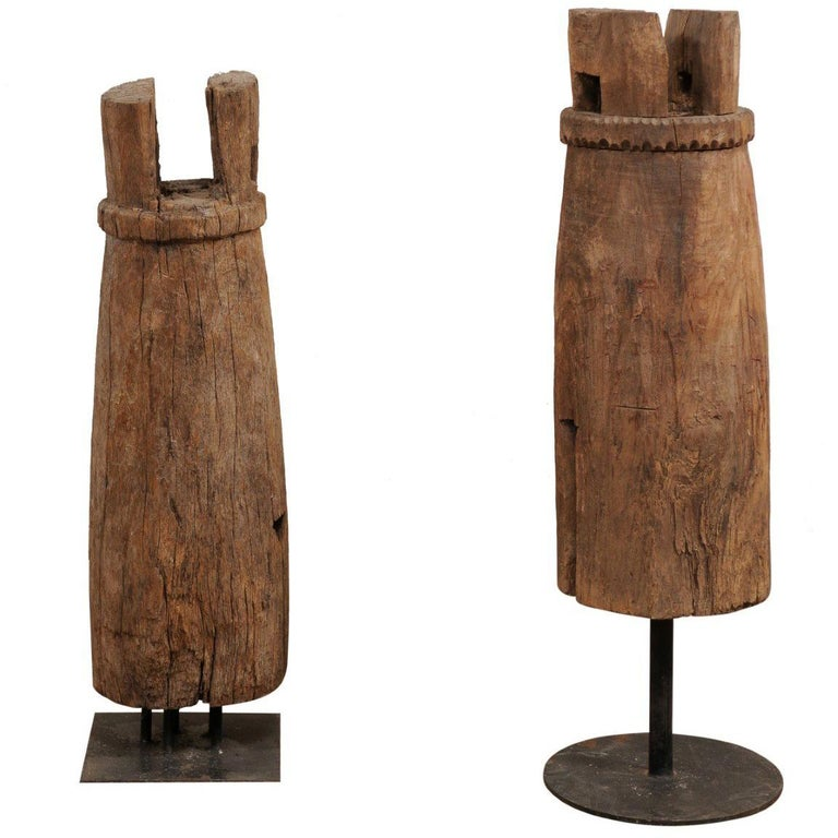 Pair of Hand-Carved Thai Wooden Temple Bells on Stands, Early 20th Century For Sale