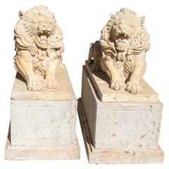 Pair of Hand Carved Travertine Marble Lions with Bases