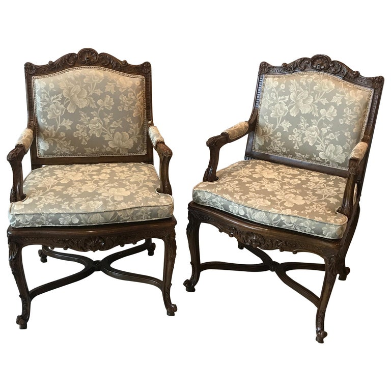 Pair of Hand Carved Walnut Armchairs For Sale
