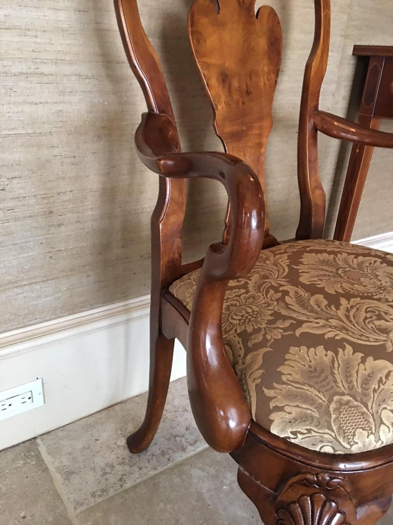 Pair of Hand Carved Walnut Queen Anne Style Armchairs, 20th Century In Good Condition For Sale In Savannah, GA