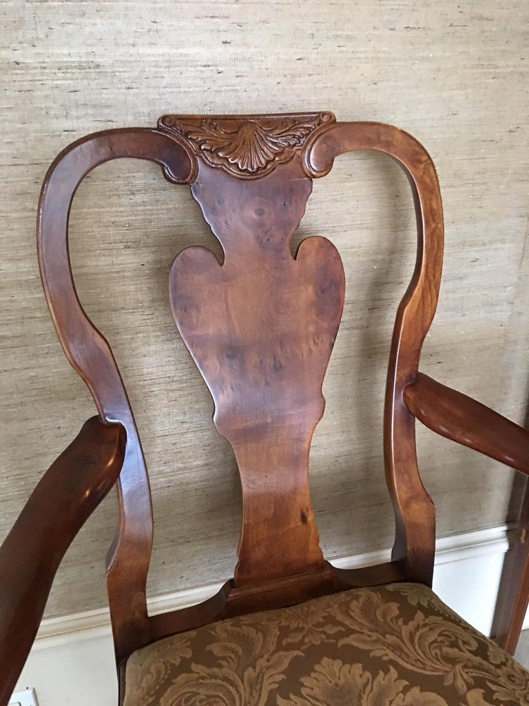 Pair of Hand Carved Walnut Queen Anne Style Armchairs, 20th Century For Sale 1