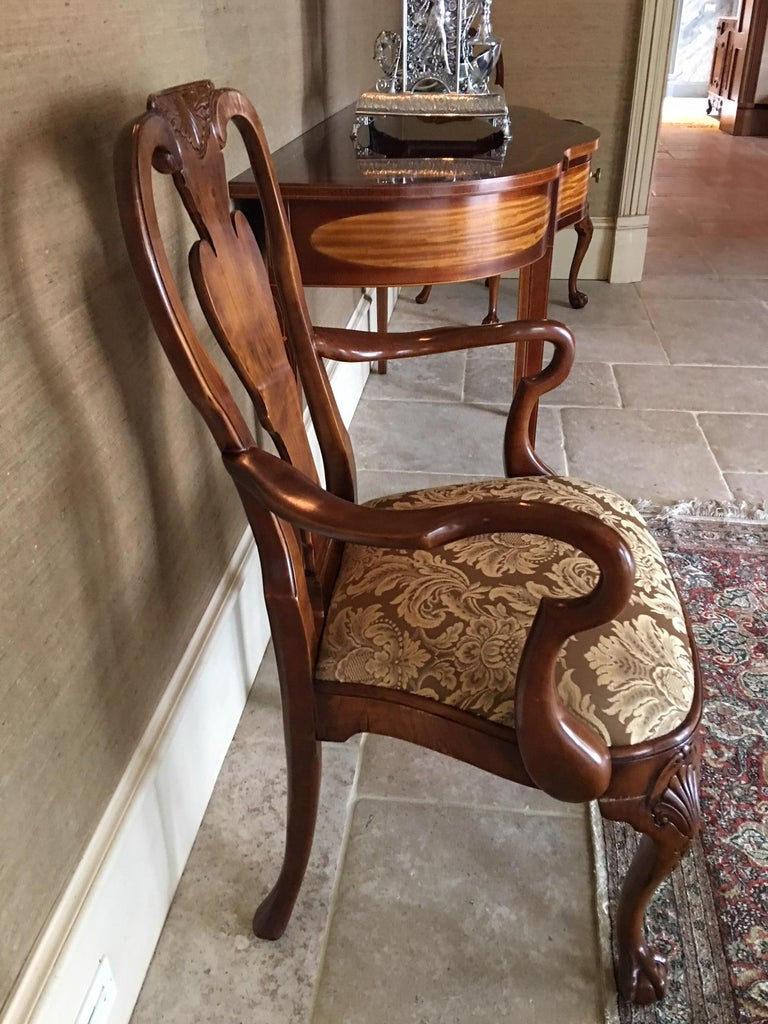 Pair of Hand Carved Walnut Queen Anne Style Armchairs, 20th Century For Sale 2