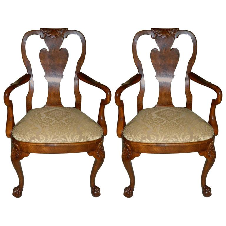 Pair of Hand Carved Walnut Queen Anne Style Armchairs, 20th Century For Sale