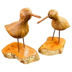 Pair of Hand Carved Walnut Wood Birds