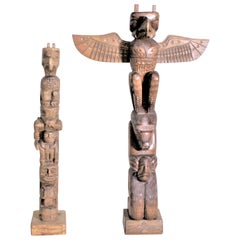 Pair of Hand Carved West Coast Canadian Nootka Cedar Totem Poles: Jimmy John