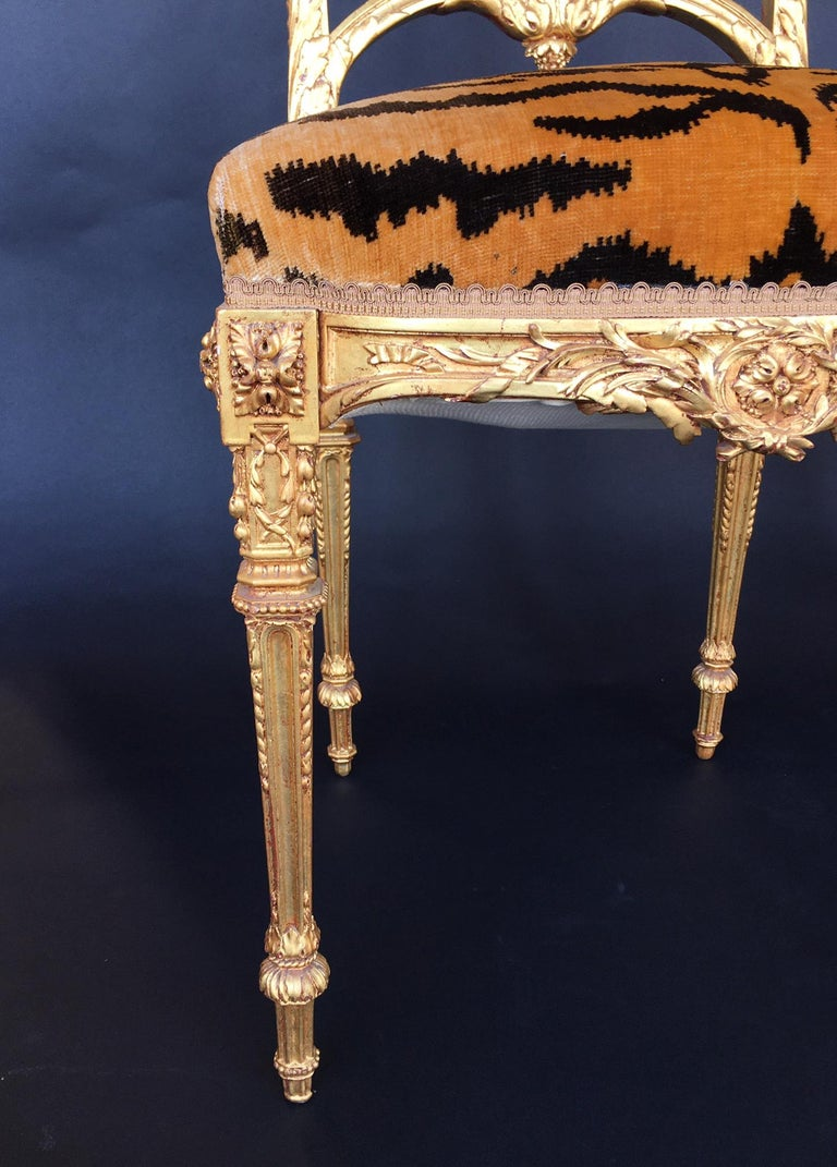 French Pair of Hand Carved Wood Chairs For Sale