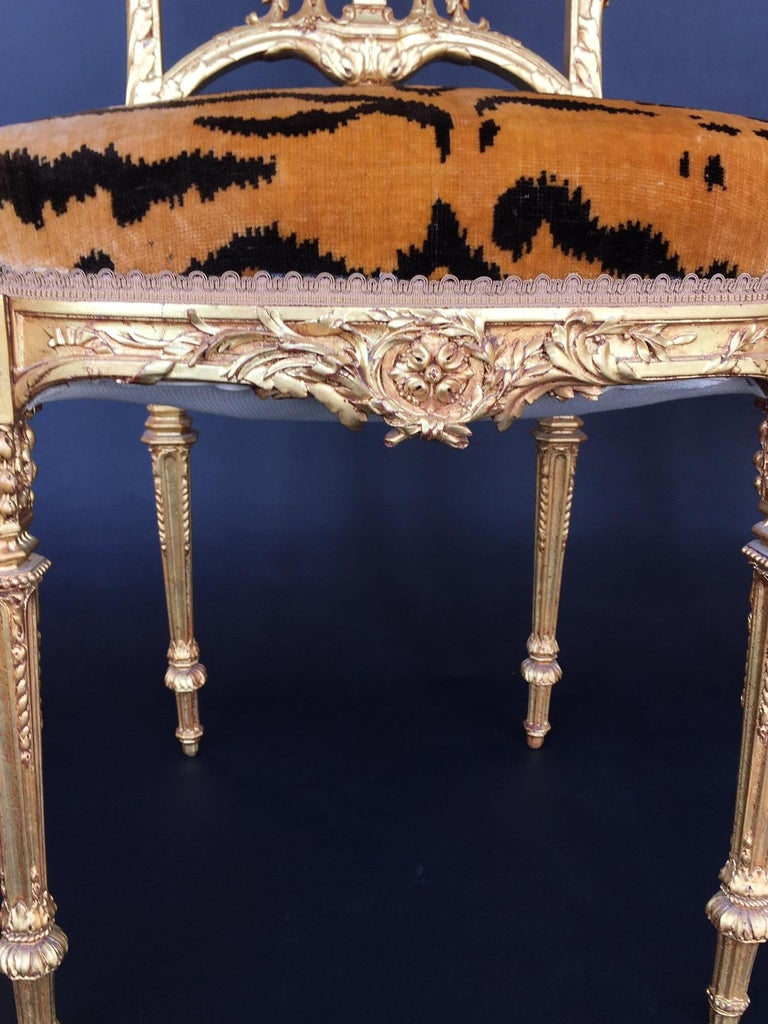 Gilt Pair of Hand Carved Wood Chairs For Sale