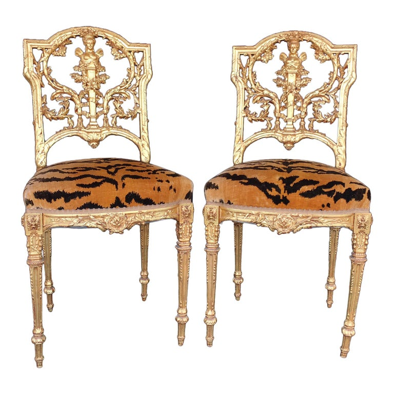 Pair of Hand Carved Wood Chairs For Sale