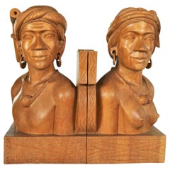 Pair of Hand Carved Wood Tribal Figural Male and Female Bookends