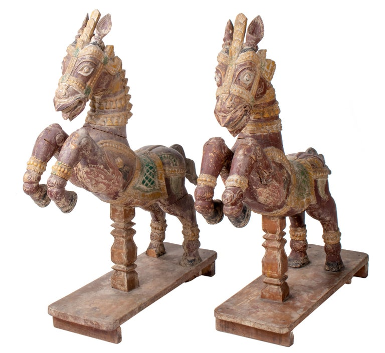Indian Pair of Hand Carved Wooden Painted Horses For Sale