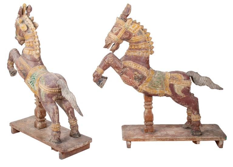 Polychromed Pair of Hand Carved Wooden Painted Horses For Sale