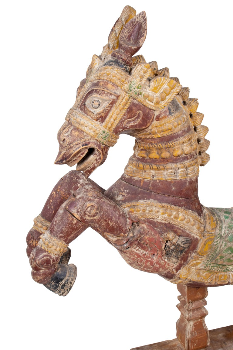 20th Century Pair of Hand Carved Wooden Painted Horses For Sale