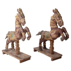 Pair of Hand Carved Wooden Painted Horses