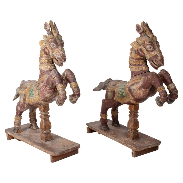 Pair of Hand Carved Wooden Painted Horses For Sale