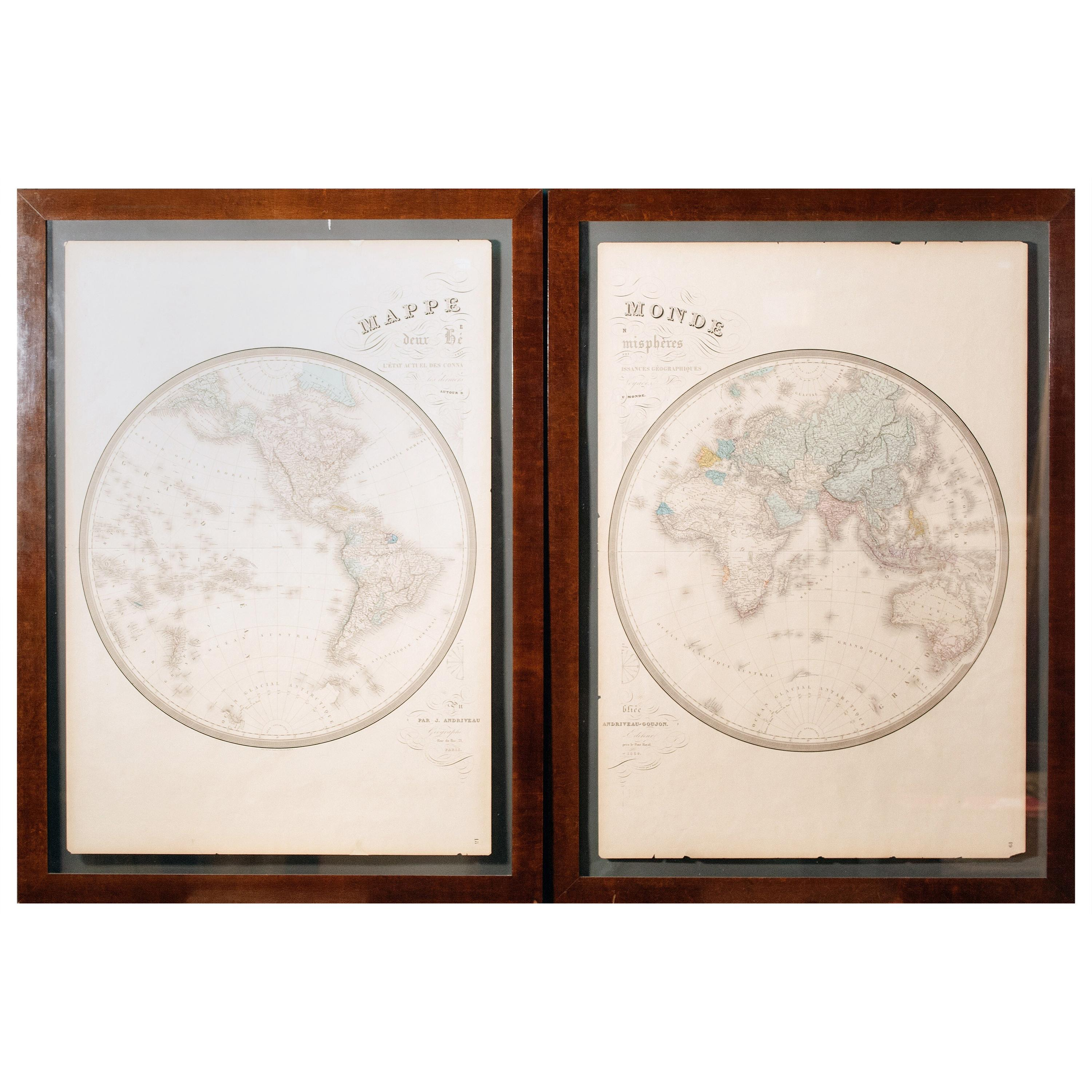 Pair of Hand Colore French Maps by Goujon, Paris
