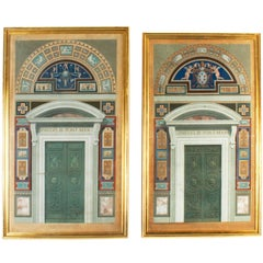 Pair of Hand Colored 18th Century Engravings of Vatican Doors