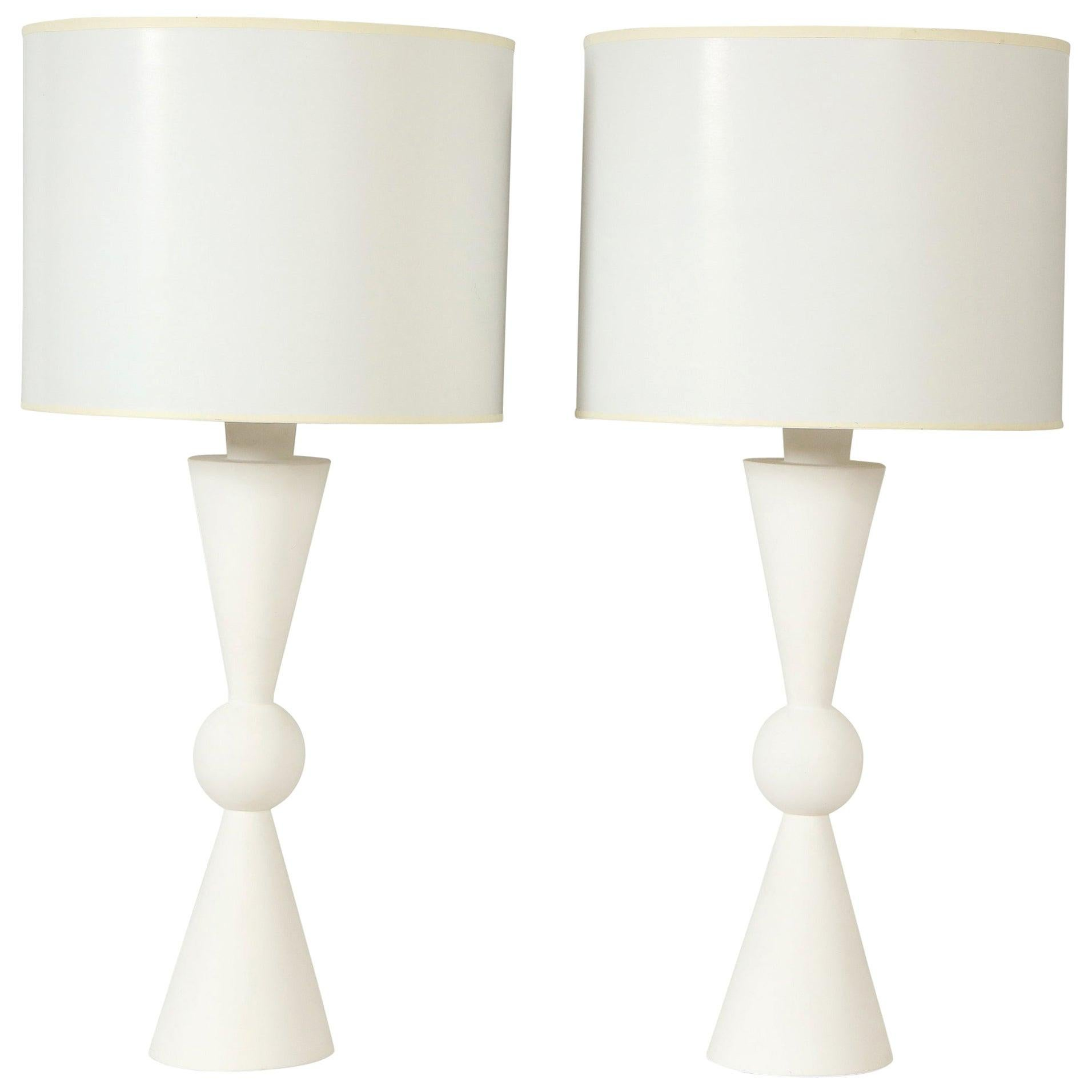 Pair of Hand Crafted Custom Plaster Arlo Table Lamps