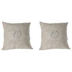 Pair of Hand Embroidered Chenille Pillows by Miguel Cisterna, France, 2014