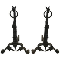 Pair of Hand Forged Gothic Andirons with Dragons, circa 1900