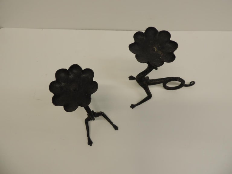 Arts and Crafts Pair of Hand-Forged Griffin Candleholders with Black Patina For Sale