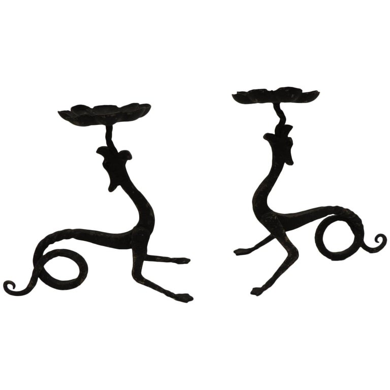 Pair of Hand-Forged Griffin Candleholders with Black Patina For Sale