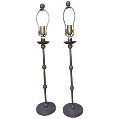 Pair of Hand Forged Iron Giacometti Style Lamps