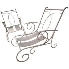 Pair of Hand Forged Iron Outdoor Lounge Chairs, circa 1946