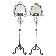 Pair of Hand Forged, Wrought Iron Floor Standing Library Lamps with Glass Shades