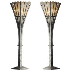 Pair of Hand-Hammered and Rock Crystal Table Lamps