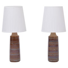 Pair of Hand Made Danish Mid-Century Ceramic Table Lamps by Soholm Stentoj