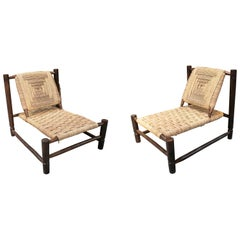 Pair of Handmade Dark Wooden Sofa Chairs with String Rope Back and Seat