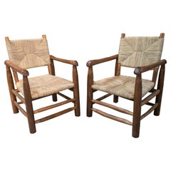 Pair of Handmade Light Brown Wooden Armchairs with String Rope Back and Seat