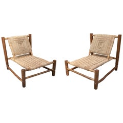 Pair of Handmade Light Brown Wooden Sofa Chairs with String Rope Back and Seat