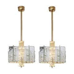 Pair of Handmade Murano Glass Pendant Lights