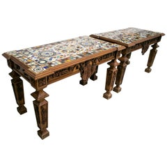 Pair of Handmade Rectangular Pietre Dure Mosaic Top Wooden Relieved Tables