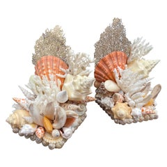 Pair of Hand Made Shell & Coral Bookends