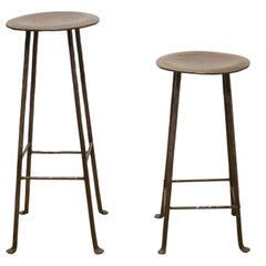 Pair of Hand Made Steel Factory Stools or Stands, circa 1930