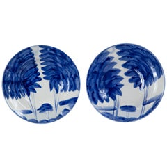 Pair of Hand Painted Blue and White Bowls, Europe, Mid-20th Century