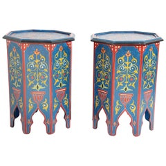 Pair of Hand Painted Blue Moroccan Pedestal Tables