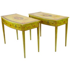 Pair of Hand Painted Bow Front Hepplewhite Side Tables