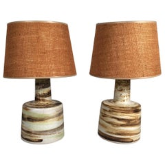 Pair of Hand Painted Brown, Grey, Tan and Green Martz Art Pottery Lamps