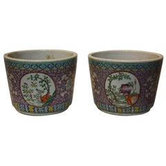 Pair of Hand-Painted Cachepot Jardinieres with Intricate Design